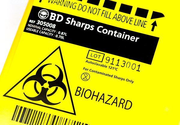 OSHA sharps disposal in Los Angeles close up of container